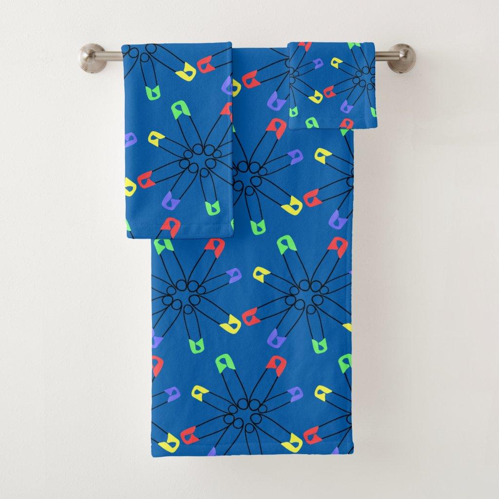 Blue Rainbow Safety Pin Bath Towels