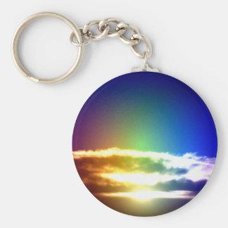 Blue Rainbow Sunset Photograph Keychain