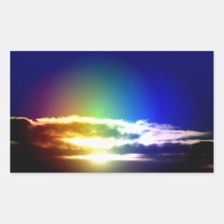 Blue Rainbow Sunset Photograph Rectangular Sticker