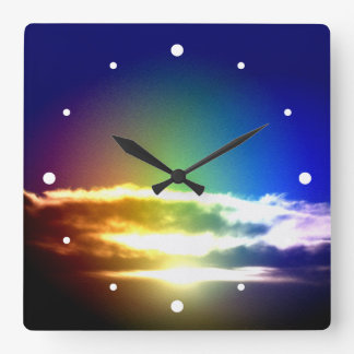 Blue Rainbow Sunset Photograph Square Wall Clock
