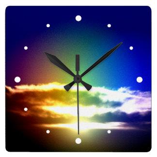 Blue Rainbow Sunset Photograph Square Wall Clock