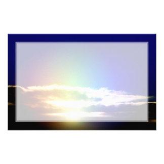 Blue Rainbow Sunset Photograph Stationery Design