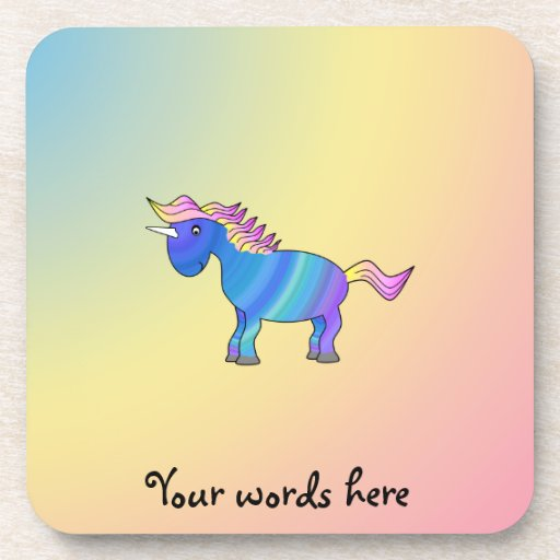 Blue rainbow unicorn on rainbow background beverage coaster