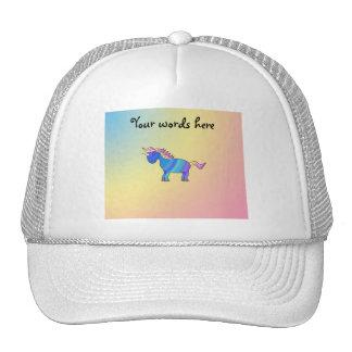 Blue rainbow unicorn on rainbow background hat