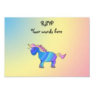 Blue rainbow unicorn on rainbow background custom announcements