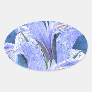 Blue raindrop Iris Oval Sticker