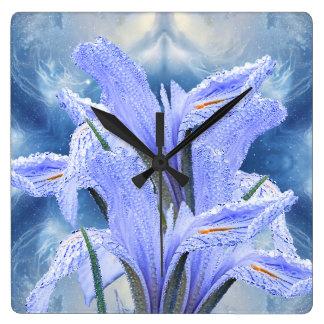 Blue raindrop Iris Square Wall Clock