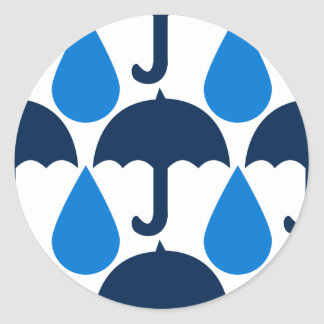 Blue Raindrops and Umbrellas Pattern Design Classic Round Sticker