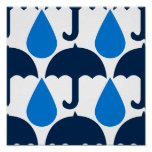 Blue Raindrops and Umbrellas Pattern Design Poster