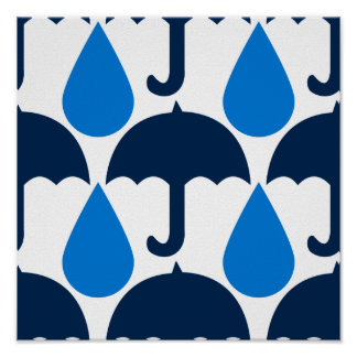 Blue Raindrops and Umbrellas Pattern Design Poster