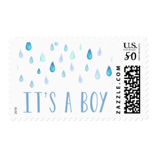 Blue Raindrops | Baby Shower Postage