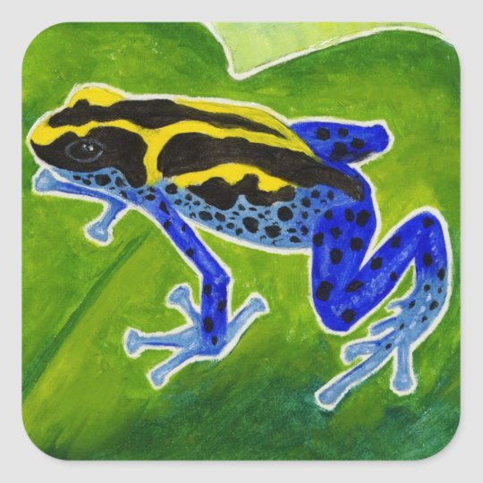 Blue Rainforest Frog Square Sticker