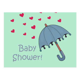 blue raining hearts baby shower postcard