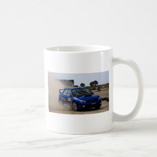 Blue rally car coffee mug