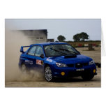Blue rally car greeting cards