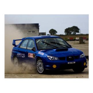 Blue rally car post card