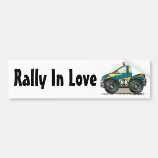 Blue Rally Car Rally In Love Bumper Sticker