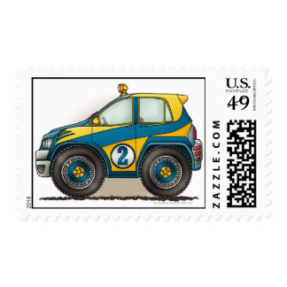 Blue Rally Car Stamps