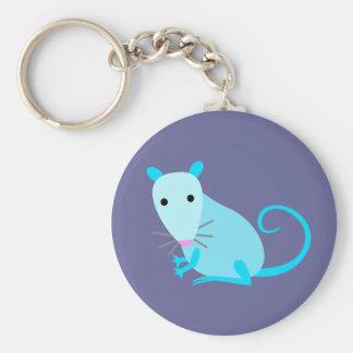 Blue Rat Keyring Basic Round Button Keychain