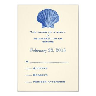 Blue Rattan Seashell Wedding Reply RSVP Cards