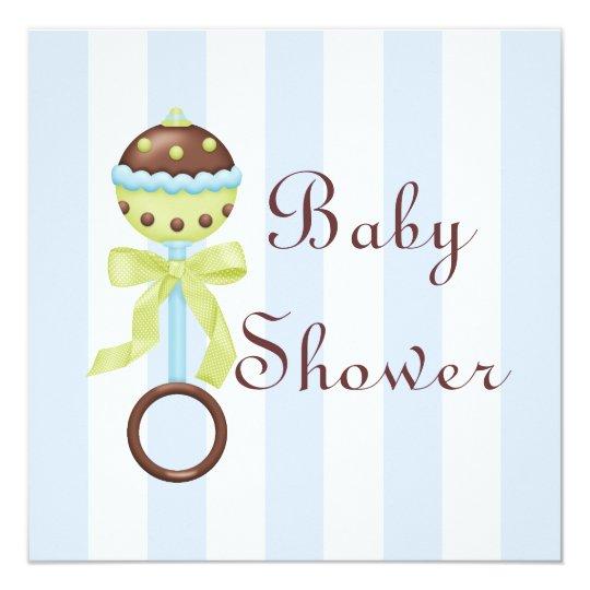 Blue Rattle Baby Shower Invitation
