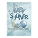 Blue Rattle Babyshower Invitation