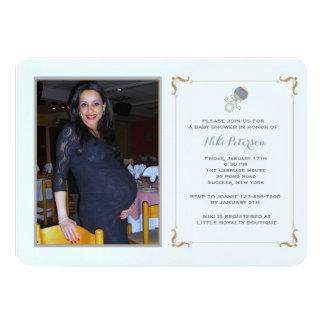 Blue Rattle Photo Baby Shower Invitation