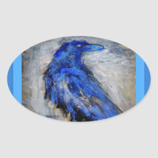 Blue Raven by Sharles Oval Sticker