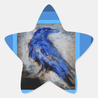 Blue Raven by Sharles Star Sticker