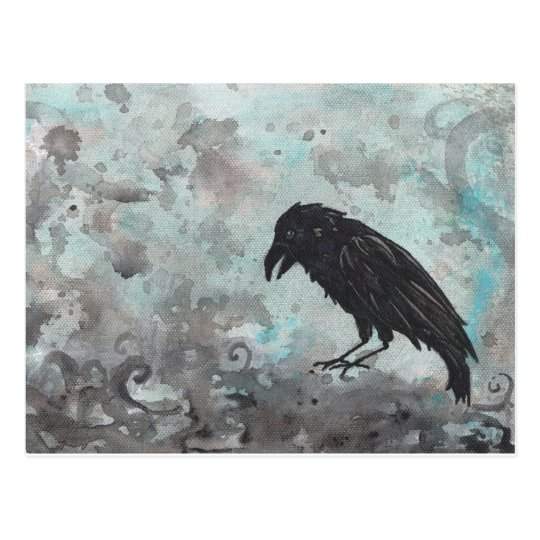 Blue Raven Crow abstract postcard