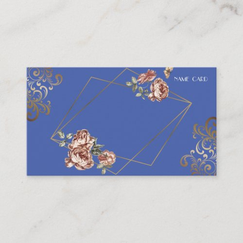 Blue Ray of Floral Wedding Name Enclosure Card