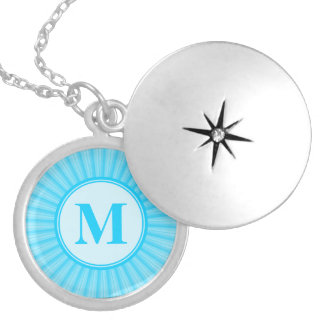 Blue Rays of Light Monogram Silver Plated Necklace