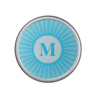 Blue Rays Pattern Customizable Monogram Bluetooth Speaker