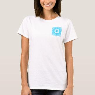 Blue Rays Pattern Customizable Monogram T-Shirt