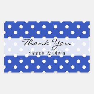 Blue Rectangle Custom Polka Dotted Thank You Label Rectangular Sticker