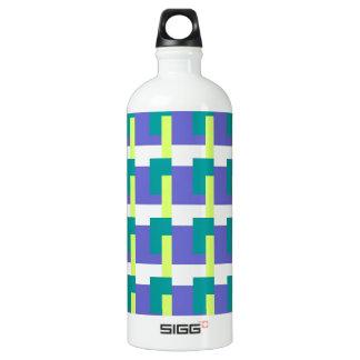 Blue Rectangles Aluminum Water Bottle