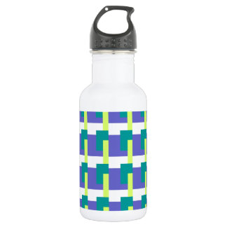Blue Rectangles Stainless Steel Water Bottle