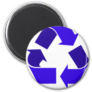 blue recycle 2 inch round magnet