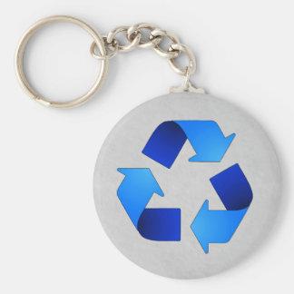 Blue Recycling Symbol Keychain