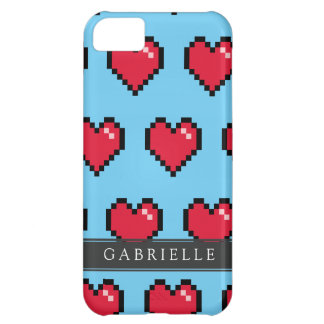 Blue Red 8-Bit Pixel Heart iPhone 5C Cover