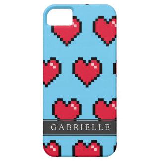 Blue Red 8-Bit Pixel Heart iPhone SE/5/5s Case