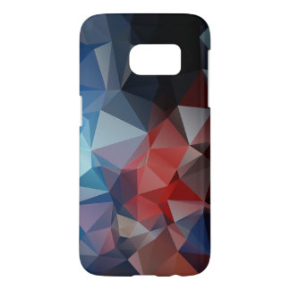 Blue Red Abstract Pyramid Pattern Samsung Galaxy S7 Case