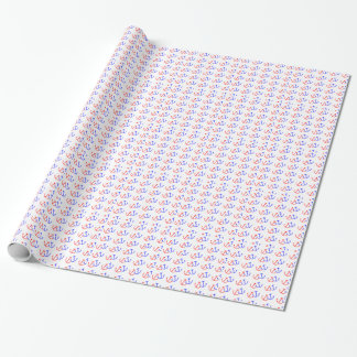 BLUE RED ANCHORS SAILOR SEA PATTERN NAUTICAL BACKG WRAPPING PAPER