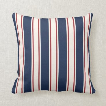 Beach Themed Blue, Red and Cream Vertical Cabana Stripe Throw Pillow