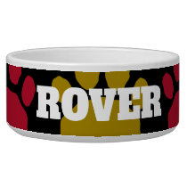 Blue, Red and Gold Animal Paw Print Bowl