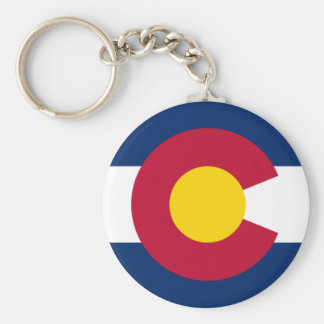 Blue Red and Gold Flag of Colorado Basic Round Button Keychain