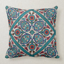 Blue, red and purple geometric pillow
