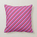 [ Thumbnail: Blue, Red, and Violet Striped/Lined Pattern Pillow ]