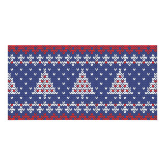 Blue  Red and White Christmas Tree Knitted Pattern Card