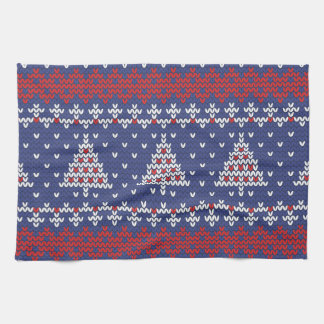 Blue  Red and White Christmas Tree Knitted Pattern Hand Towel